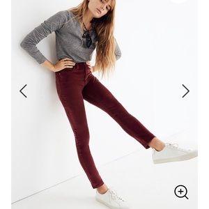 """Madewell Velvet 10"""" high rise skinny Jeans red"""